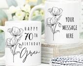 70th Birthday Gift for Women UK, Birthday Gift for Her, Personalised 70th Birthday Mug, Personalised Gift for Mom, Grandma, Sister, Wife