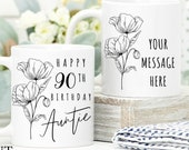 90th Birthday Gift for Women UK Birthday Gift for Her, Personalised 90th Birthday Mug, Personalised Gift for Mom, Grandma, Sister, Wife Aunt