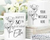 80th Birthday Gift for Women UK, Birthday Gift for Her, Personalised 80th Birthday Mug, Personalised Gift for Mom, Grandma, Sister, Wife