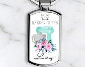 Baking Queen Keyring, Baking Gift Present, Chef Gift, Baker Gift Present, Persolalised Name Keyring, Birthday Gift for Her, Mom, Nana Friend