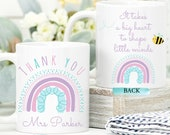 Teacher Mug, Personalised Text Mug, Teacher Thank You For Helping Me Grow, Ta Gift From Teachers, It Takes a Big Heart to Shape Little Minds