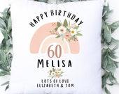 Personalised 60th Birthday Linen Cushion, Name Cushion, Age Birthday Gift, Keepsake Special Age Birthday 60th Pillow, Mum Nanny Grandma