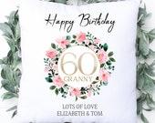 Personalised 60th Birthday Cushion, Name Cushion, Age Birthday Gift, Keepsake Special Age Birthday 60th Pillow, Mum Nanny Grandma