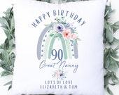 Personalised 90th Birthday Cushion, Name Cushion, Age Birthday Gift, Keepsake Special Age Birthday 90th Pillow, Mum Nanny Grandma