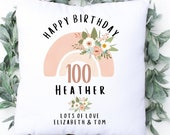 Personalised 100th Birthday Linen Cushion, Name Cushion, Age Birthday Gift, Keepsake Special Age Birthday 100th Pillow, Mum Nanny Grandma
