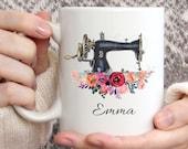 Personalized gift Sewing Gifts, Custom mug, Christmas Mug, Coffee Mug, Name Mug, Coffee Mug, Crafty Sewing Machine Mug, Gift for her Mug