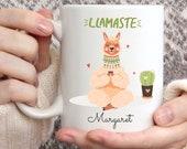 Llamaste Mug, Custom mug personalised, Yoga Mug, Christmas Mug, Yoga Gift, Yoga Teacher Gift, Pilates, Namaste Mug, Coffee Mug, Name Mug