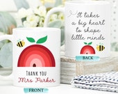 Personalised Text Mug, Teacher Thank You For Helping Me Grow, Ta Gift From Teachers, It Takes a Big Heart to Shape Little Minds, Teacher Mug