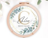 Personalised Rose Gold Compact Mirror Bridesmaid Gift, Maid Of Honour, Mother of Bride Groom Gift, Floral Compact Mirror With Name and Date