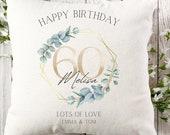 Personalised 60th Birthday Linen Cushion, Name Cushion, Age Birthday Gift, Keepsake Special Age Birthday 60th Pillow, Mum Daughter Grandma