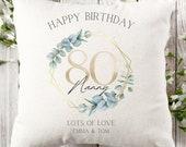 Personalised 80th Birthday Linen Cushion, Name Cushion, Age Birthday Gift, Keepsake Special Age Birthday 80th Pillow, Mum Daughter Grandma