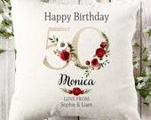Personalised 50th Birthday Linen Cushion, Name Cushion, Age Birthday Gift, Keepsake Special Age Birthday 50th Pillow, Mum Nanny Grandma