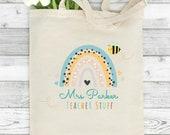 Personalised Teacher Bag, End of Year Teacher Gift, Watercolor Rainbow, Thank You Gift Idea, Custom Tote Bag, Any Name, Teacher Stuff