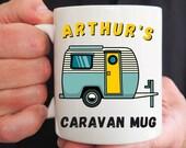 Personalised Caravan Mug, Mug For Him or Her, Motorhome Mug, Campers Gift, Friend Birthday, Christmas, Congrats, Vacation Holiday Gift