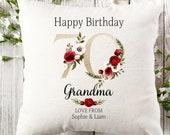 Personalised 70th Birthday Linen Cushion, Name Cushion, Age Birthday Gift, Keepsake Special Age Birthday 70th Pillow, Mum Nanny Grandma