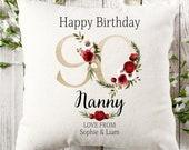 Personalised 90th Birthday Linen Cushion, Name Cushion, Age Birthday Gift, Keepsake Special Age Birthday 90th Pillow, Mum Nanny Grandma