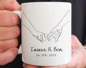 Line Art Mug, Line Drawing,  Personalised Wedding Gift, Mug for Him or Her, Couple Gifts, Birthday Gift, Engengament Gift, Housewarming Gift