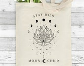 Personalised Tote Bag, Celestial Tote Bag, Magic Tote Bag, Astronomical Gift, Gift for Her, Alchemy, Birthday Gift, Shopping Bag, Lotus