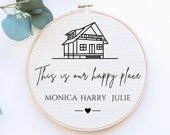 Family Print Personalised, New Home Gift, Gift for Family, Personalised New Home Print, Printed Embroidery Hoop, Personalized Wall Decor