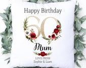 Personalised 60th Birthday Cushion, Name Cushion, Age, Birthday Gift, Home Decor, Special Age Birthday 60th Pillow, Mum Daughter Grandma