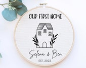 New Home Gift, Our First Home Gift for Couple, Personalised New Home Print, Printed Embroidery Hoop, Personalized Wall Decor