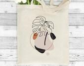 Monstera Outline Tote, Botanical Print, Line Art Tote Bag, Leaves Plants, Shopping Bag, Market Bag, Line Drawing, Minimalist Tote Bag
