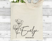 Personalised Tote Bag, Bridal Party Tote Bag, Maid of Honour Tote Bag,  Maid of Honor Gift, Bridesmaid Gift, Hen Party Gift, Name Canvas Bag