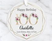 Personalised 100th Milestone Birthday Ceramic Ornament, Decoration Keepsake 16th, 18th, 21st, 30th, 40th, 50th, 60th, 70th, 80th
