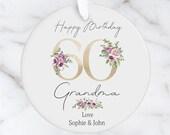 Personalised 60th Milestone Birthday Ceramic Ornament, Decoration Keepsake 16th, 18th, 21st, 30th, 40th, 50th, 60th, 70th, 80th
