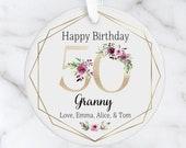 Personalised 50th Milestone Birthday Ceramic Ornament, Decoration Keepsake 16th, 18th, 21st, 30th, 40th, 50th, 60th, 70th, 80th