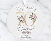 Personalised 70th Milestone Birthday Ceramic Ornament, Decoration Keepsake 16th, 18th, 21st, 30th, 40th, 50th, 60th, 70th, 80th