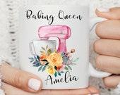 Baking Queen, Baking Baker Mug, Baking Gift Present, Chef Mug, Baker Gift Present Mug, Persolalised Name Mug, Gift for Her, Mom, Nana