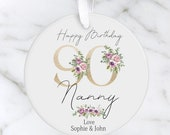Personalised 90th Milestone Birthday Ceramic Ornament, Decoration Keepsake 16th, 18th, 21st, 30th, 40th, 50th, 60th, 70th, 80th