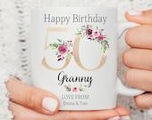 Personalised 50th Birthday Mug, Best Nana Ever mug, Best Grandma Mug, Nanny coffee cup, Nana Gift Idea, Birthday Gift Mom, Grandma, Sister