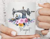 Sewing Gifts, Custom mug personalised, Christmas Mug, Coffee Mug, Name Mug, Sewing Coffee Mug, Crafty Sewing Machine Mug, Gift for her Mug