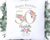 Personalised 50th Birthday Cushion, Name Cushion, Age, Birthday Gift, Home Decor, Special Age Birthday 50th Pillow, Mum Daughter Grandma
