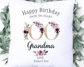 Personalised 100th Birthday Cushion, Name Cushion, Age, Birthday Gift, Home Decor, Special Age Birthday 100th Pillow, Mum Daughter Grandma