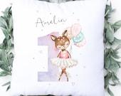 Personalised Birthday Cushion, 1st Birthday Pillow, New Baby Gift, Christening, Birth Keepsake, Home Decor, Baby Girl Gift, New Born Baby