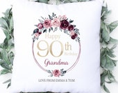 Personalised 90th Birthday Cushion, Name Cushion, Age, Birthday Gift, Home Decor, Special Age Birthday 90th Pillow, Mum Daughter Grandma