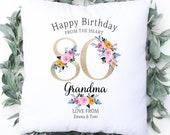 Personalised 80th Birthday Cushion, Name Cushion, Age, Birthday Gift, Home Decor, Special Age Birthday 80th Pillow, Mum Daughter Grandma
