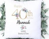 Personalised 40th Birthday Cushion, Name Cushion, Age, Birthday Gift, Home Decor, Special Age Birthday 40th Pillow, Mum Daughter Grandma