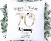 Personalised 70th Birthday Cushion, Name Cushion, Age, Birthday Gift, Home Decor, Special Age Birthday 70th Pillow, Mum Daughter Grandma