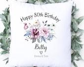 Personalised 80th Birthday Cushion, Name Cushion, Birthday Gift, Home Decor, Special Age Birthday 80th Pillow, Mum Sister Grandma Gift