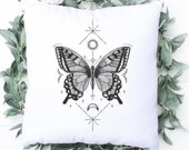 Butterfly Cushion Cover, Alchemy Art Pillow, Gift For Best Friend, Personalised Gift Christmas Gift, Friend Birthday Gift, Celestial Pillow