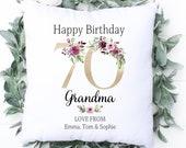 Personalised 70th Birthday Cushion, Name Cushion, Age, Birthday Gift, Home Decor, Special Age Birthday 70th Pillow, Mum Sister Grandma