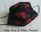 Handmade cotton face mask with filter pocket and nose wire - from UK, Soft Cotton, Cherry, Made in UK
