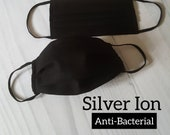 Silver Ion, Anti-Bacterial Black Cotton Face Mask with Filter Pocket, Certificate Oeko-Tex Standard100, Soft Nose Wire, Skin Friendly