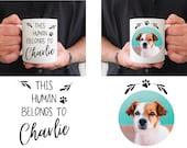 This Human Belongs To, Dog Photo Mug, Dog Parent Mug, Dog Lover Gift, Dog Mum Mug, Dog Dad Mug, Dog Pawrents, Dog Owner Gift, Christmas Gift