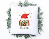 Rainbow Christmas Pillow, Personalised Cushion, Christmas Gift for Mom, Dad, Friend, Nana, Christmas home decor, Personalized Pillow,