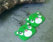 Bear Earrings, Bears Polymer Clay Jewelry, Green Earrings, Animal Earrings, Animals Jewelry, Girls Gifts Fimo